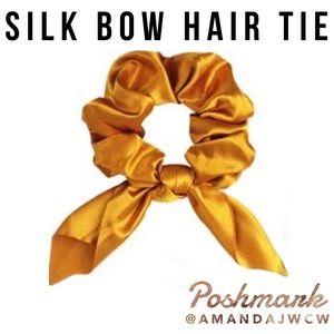 Silk Bow Hair Tie Scrunchie - Deep Golden Yellow